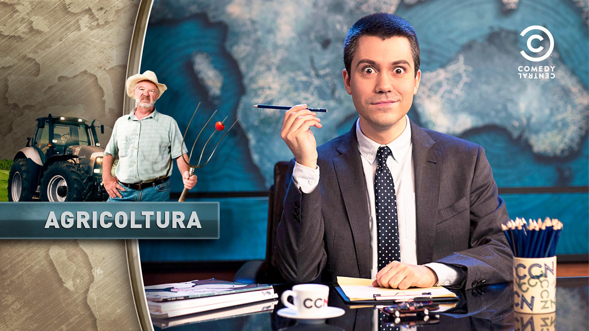 Cartello della puntata Agricoltura della trasmissione televisiva CCN Comedy Central News di Saverio Raimondo, realizzata dallo studio di grafica Studio Polpo