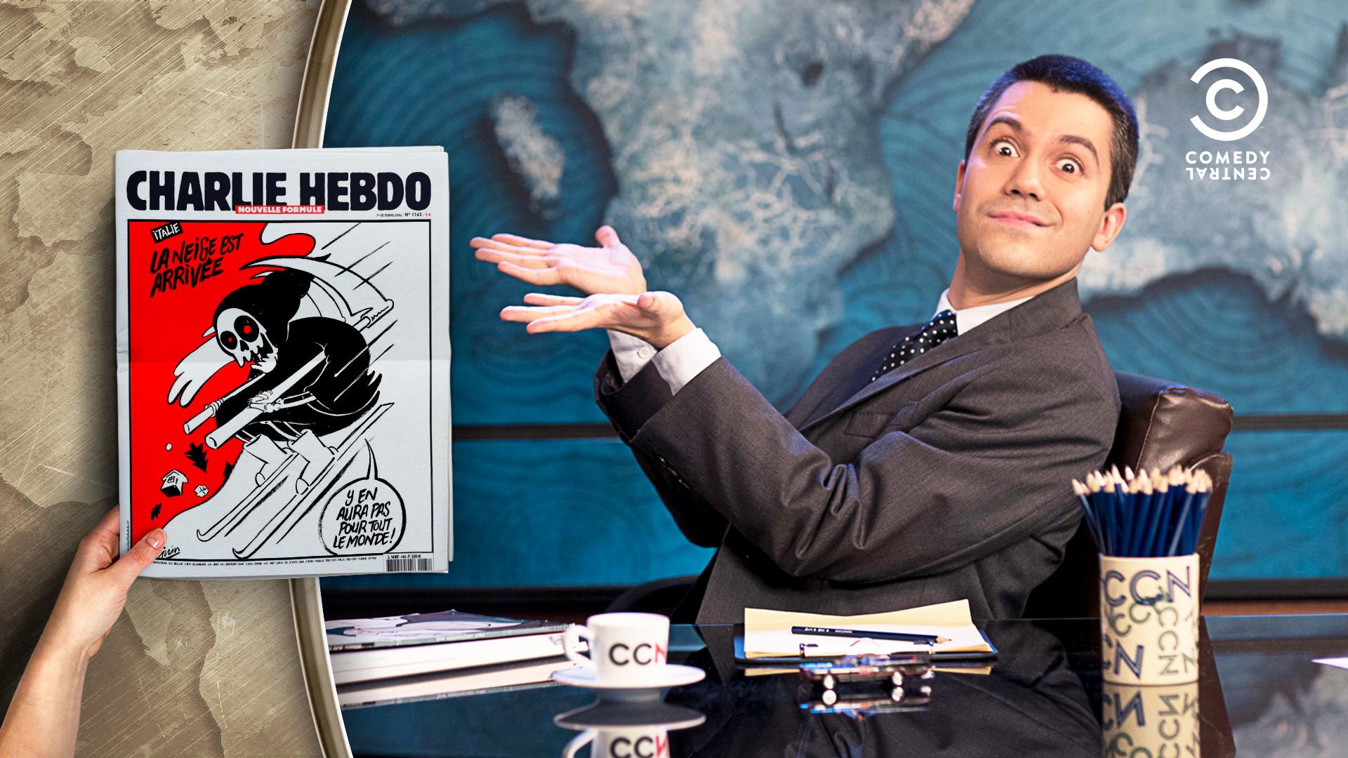 Contributo grafico con una copertina di Charlie Hebdo per la trasmissione televisiva CCN Comedy Central News di Saverio Raimondo