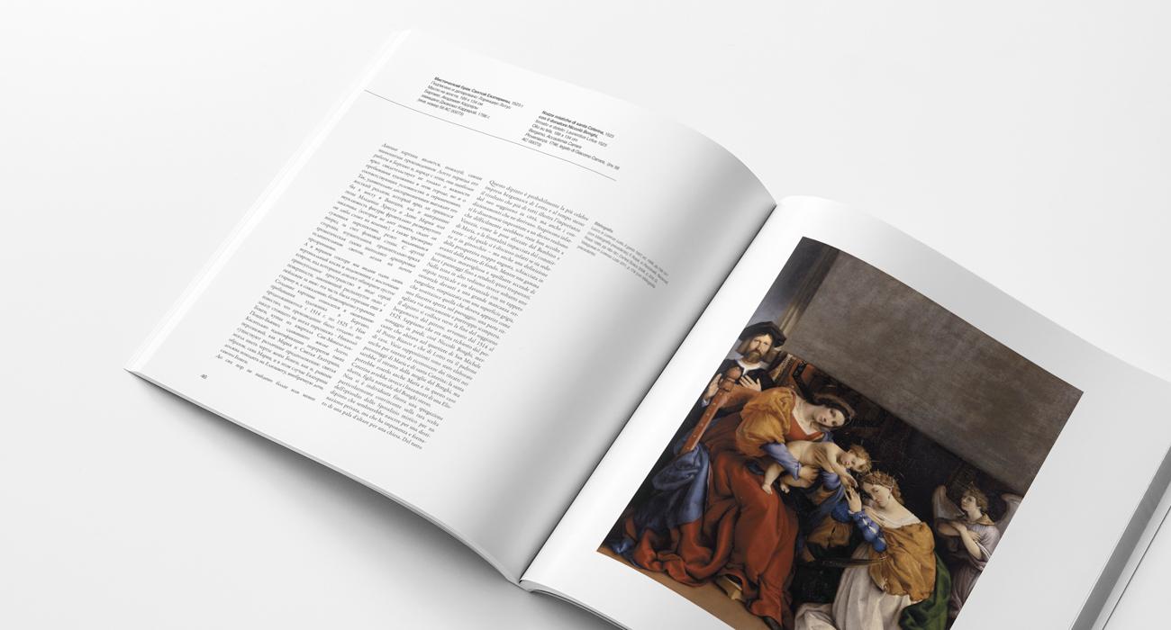 Doppia pagina interna del catalogo d'arte della mostra su Lorenzo Lotto tenutasi al Museo Pushkin di Mosca e organizzata da MondoMostre. Il catalogo è stato progettato e impaginato dallo studio di grafica Studio Polpo