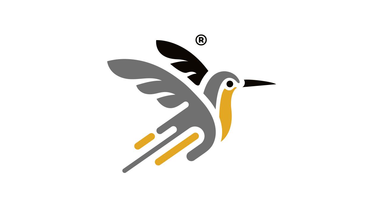 Logo progettato per la Pantocrom. Il marchio è un uccello stilizzato con delle forme che richiamano macchie di pittura.