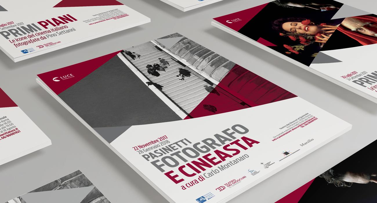 I manifesti delle prime mostre organizzate da Istituto Luce Cinecittà al Teatro dei Dioscuri, progettati e realizzati dallo studio di grafica e agenzia di comunicazione Studio Polpo