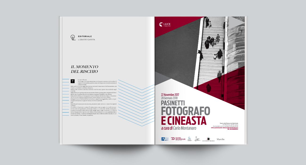 Pagina pubblicitaria della mostra Pasinetti Fotografo e Cineasta organizzata da Istituto Luce al Teatro dei Dioscuri, progettata e realizzata da Studio Polpo