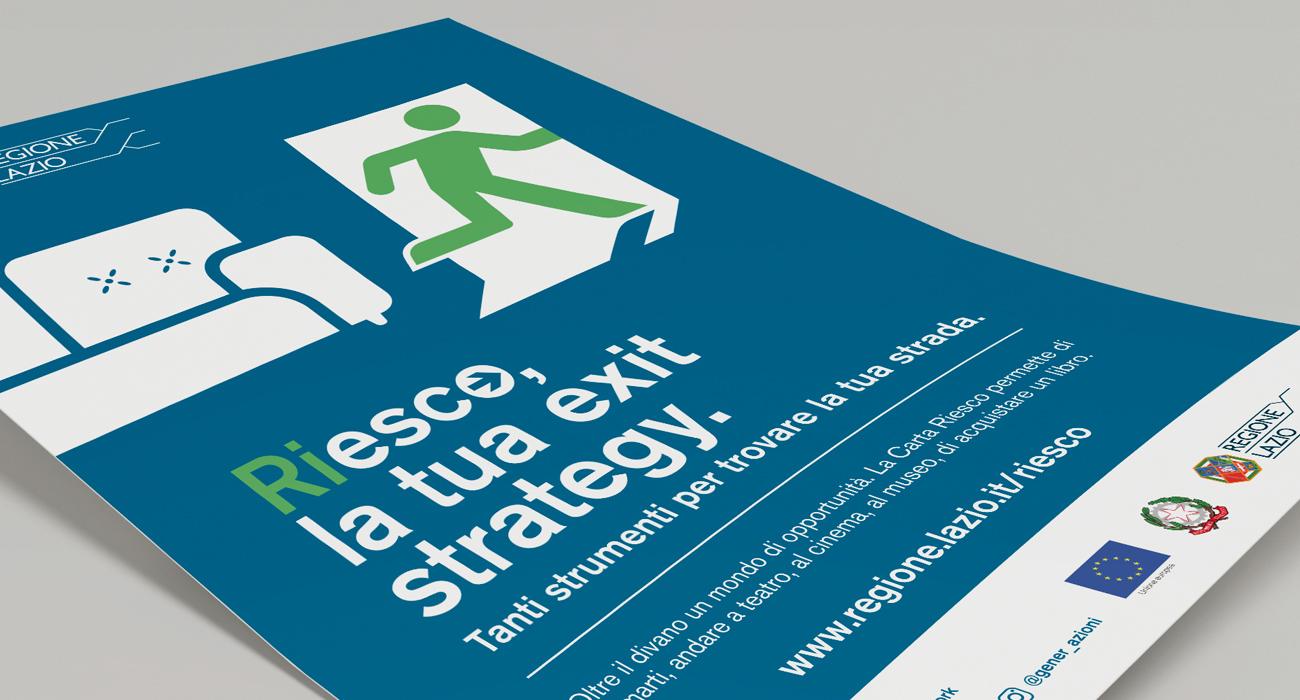 Manifesto con soggetto maschile dell'iniziativa Riesco della Regione Lazio, progettato e realizzato da Studio Polpo