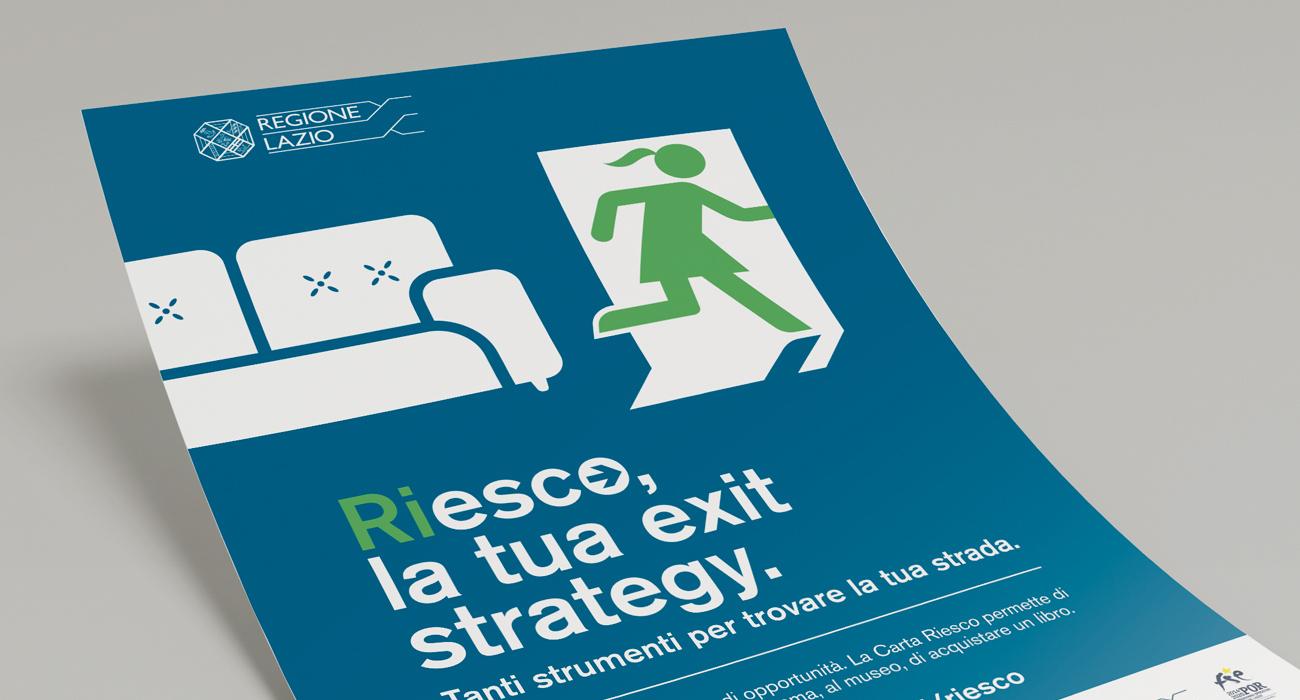 Manifesto con visual femminile dell'iniziativa Riesco della Regione Lazio