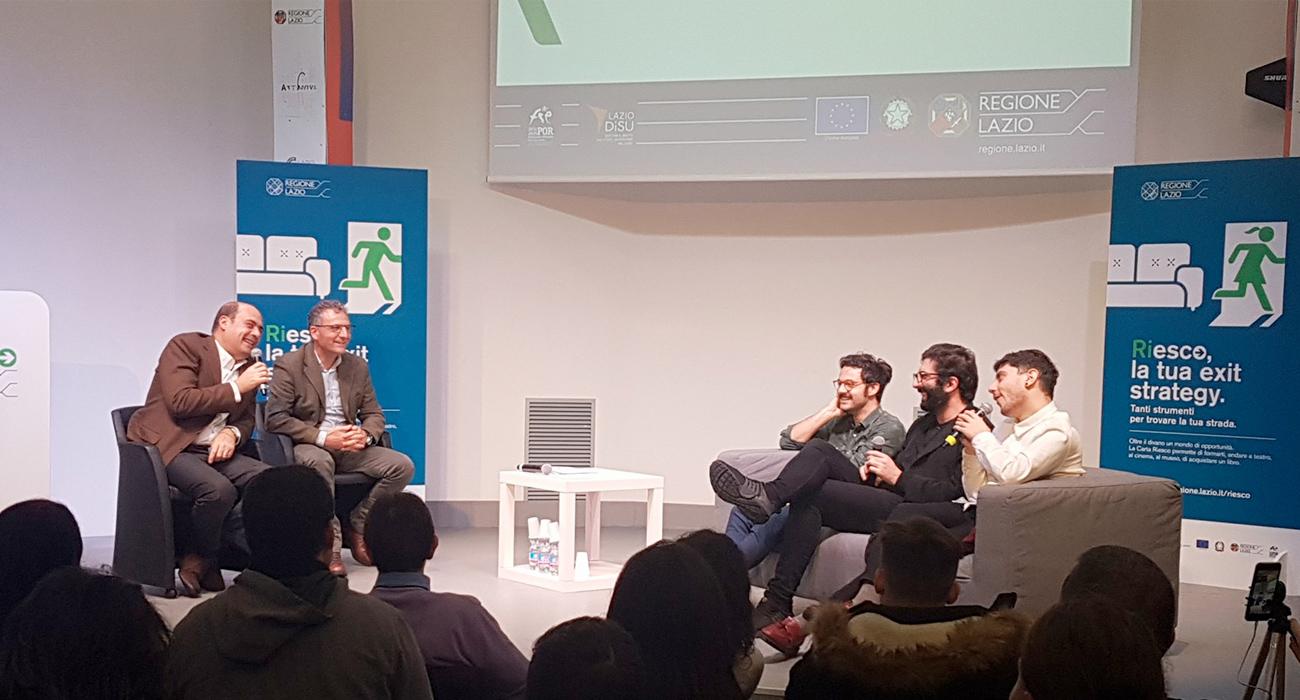 Il Presidente della Regione Lazio Nicola Zingaretti presenta l'iniziativa Riesco con The Pills al WeGil a Roma
