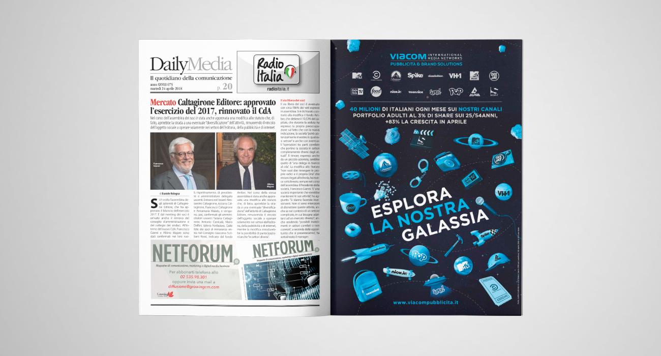 Pubblicità b2b pubblicata sulla rivista di settore DailyMedia per Viacom Pubblicità, che mostra i suoi tanti canali, come Alpha e Cine Sony