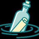 Un messaggio nella bottiglia con i contatti dello Studio Polpo