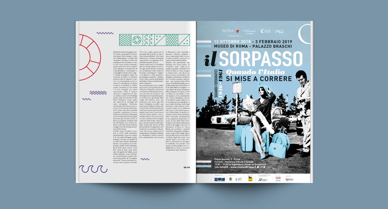 Pagina pubblicitaria per la mostra Il Sorpasso progettata e realizzata dallo studio di grafica Studio Polpo
